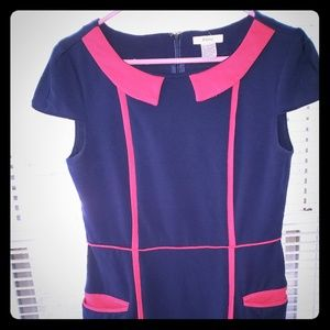 Esley Navy and Pink color-block sheath dress